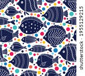 cute fish and polka dots.  kids ... | Shutterstock .eps vector #1955129215