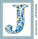 blue floral capital letter j in ...