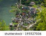 view overlooking hallstatt town ... | Shutterstock . vector #195527036
