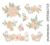 simple flowers pastel colored...   Shutterstock .eps vector #1955361715