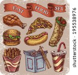 Hand-drawn set of old school fast food theme tattoos.