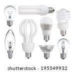 set of incandescent  halogen ...   Shutterstock . vector #195549932
