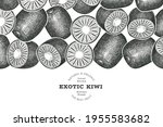 hand drawn sketch style kiwi... | Shutterstock .eps vector #1955583682