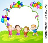 kids with balloons over banner | Shutterstock . vector #195559292