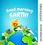 the earth with buildings and... | Shutterstock .eps vector #1955593585