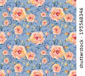 roses seamless pattern on a... | Shutterstock . vector #195568346