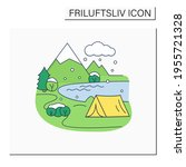 camping color icon.tent on... | Shutterstock .eps vector #1955721328