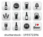 Beer vector buttons set - bottle, glass, pint