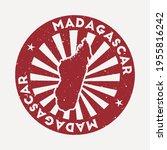 madagascar stamp. travel red... | Shutterstock .eps vector #1955816242