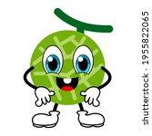 Melon Character Happy Isolated...