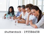 business people writing in... | Shutterstock . vector #195586658