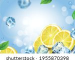 lemon fruit with ice cubes on... | Shutterstock .eps vector #1955870398