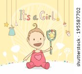 baby shower it's a girl  baby... | Shutterstock . vector #195587702