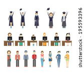 large set of icons of young... | Shutterstock . vector #195593396