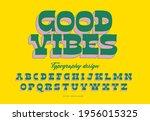 2d 70's serif typography design ... | Shutterstock .eps vector #1956015325