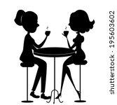 two women drinking coffee.raster | Shutterstock . vector #195603602