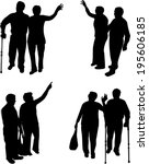senior .silhouettes of people.  | Shutterstock .eps vector #195606185
