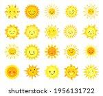 cute sun. cartoon sunny emoji ... | Shutterstock .eps vector #1956131722