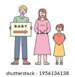 a father holding a picket a... | Shutterstock .eps vector #1956136138