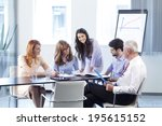 business people sitting at... | Shutterstock . vector #195615152