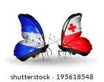 two butterflies with flags on... | Shutterstock . vector #195618548