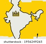 indian map artwork with yellow... | Shutterstock .eps vector #1956249265
