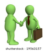 shake hand of two 3d stylized... | Shutterstock . vector #19563157