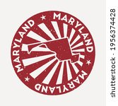 maryland stamp. travel red... | Shutterstock .eps vector #1956374428