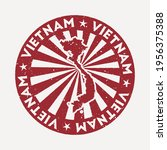 vietnam stamp. travel red... | Shutterstock .eps vector #1956375388