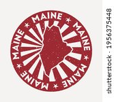 maine stamp. travel red rubber... | Shutterstock .eps vector #1956375448