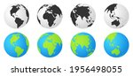 set of earth globes with... | Shutterstock .eps vector #1956498055