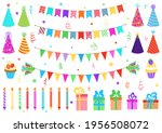 set of birthday party elements. ... | Shutterstock .eps vector #1956508072