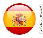 spain flag button on white | Shutterstock .eps vector #195656015