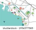 hawaii waikiki stylized vector... | Shutterstock .eps vector #1956577585