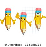 pencil character different... | Shutterstock . vector #195658196