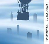 lovers fly in balloon basket....   Shutterstock .eps vector #1956589525