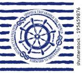 Blue White Nautical Emblem Wit...
