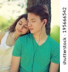 young couple guy and girl... | Shutterstock . vector #195666542