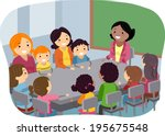 illustration of parents and... | Shutterstock .eps vector #195675548