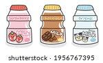 set of cute milk bottle cartoon ... | Shutterstock .eps vector #1956767395