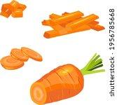 set of carrots cartoon style.... | Shutterstock .eps vector #1956785668