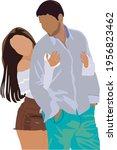 romantic couple  pair of men... | Shutterstock .eps vector #1956823462