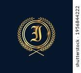 golden letter i laurel wreath... | Shutterstock .eps vector #1956844222