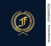 golden letter f laurel wreath... | Shutterstock .eps vector #1956844228