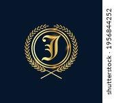 golden letter j laurel wreath... | Shutterstock .eps vector #1956844252
