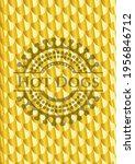 hot dogs golden emblem. scales... | Shutterstock .eps vector #1956846712