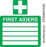 first aiders   5 off green and... | Shutterstock .eps vector #1956860188