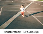 little girl running away on the ... | Shutterstock . vector #195686858