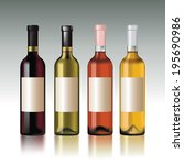 set of wine bottles with empty... | Shutterstock .eps vector #195690986