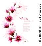beautiful pink magnolia... | Shutterstock .eps vector #1956912298